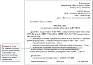 Заявление о выдаче копии устава в налоговую образец 2020