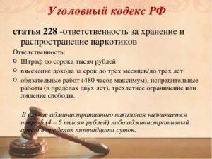 228 Статья Уголовного Кодекса Рф Срок Наказания 2020