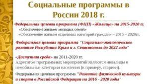 Социальные Программы В России 2020 Список