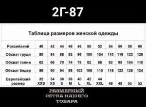 228 размеры таблица 2020