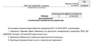 Приказ о назначении кассира образец 2020